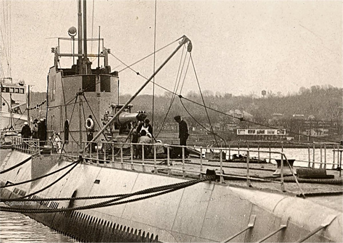 The USS V-4 (Argonaut) seen here stationed with Submarine Squadron 12 on No